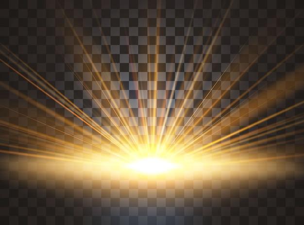 日光。特殊レンズフレアライト効果。