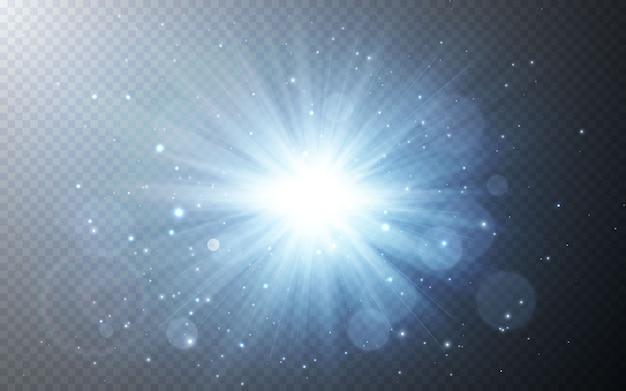 透明な背景に日光特殊レンズフラッシュライト効果。光をぼかす効果。