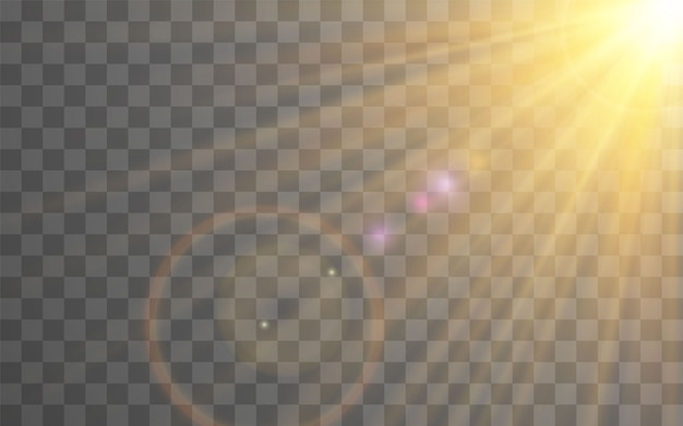 Sunlight special lens flash light effect on transparent background. effect of blurring light.