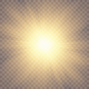 Sunlight on a transparent background. glow light effects.