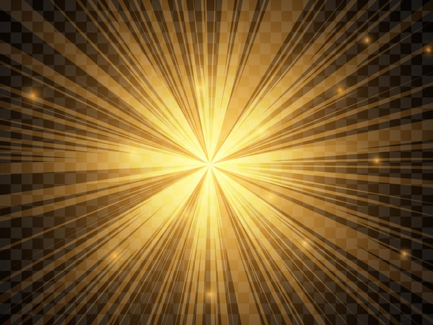 Sunlight on a transparent background. isolated yellow rays of light. vector illustration