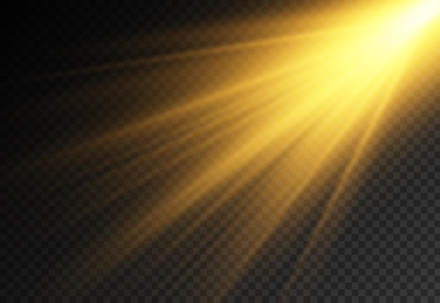 明るい爆発のある太陽光、光線によるフレア効果、ビーム効果