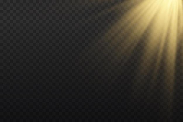 光線と魔法の輝きを伴う明るい爆発フレア効果のある太陽光光線黄色のビーム効果は、輝きの光の中でぼやけますフロント太陽レンズフラッシュベクトル図