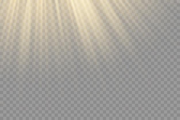 밝은 폭발, 빛과 마법의 반짝임, 플레어 효과, 태양 광선, 노란색 빔 효과와 플레어 효과, 빛의 빛에 흐림, 전면 태양 렌즈 플래시,.