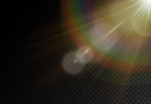 밝은 폭발과 함께 햇빛, 빛의 광선으로 플레어 효과