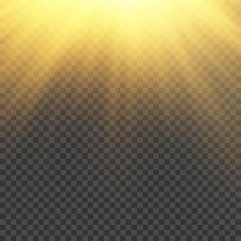 明るい爆発フレアライトマジックのある太陽光が太陽光線イエロービーム効果を輝かせます