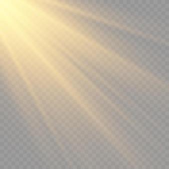 明るい爆発フレアライトマジックのある太陽光が太陽光線の黄色いビーム効果を輝かせます