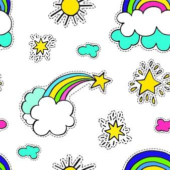 晴れて曇りの天気、虹と雲のある流れ星。活気のあるおとぎ話の設定。奇跡とワンダーラストのシームレスなパターン。ステッカーやパッチ、フラットスタイルの明るい印刷ベクトル