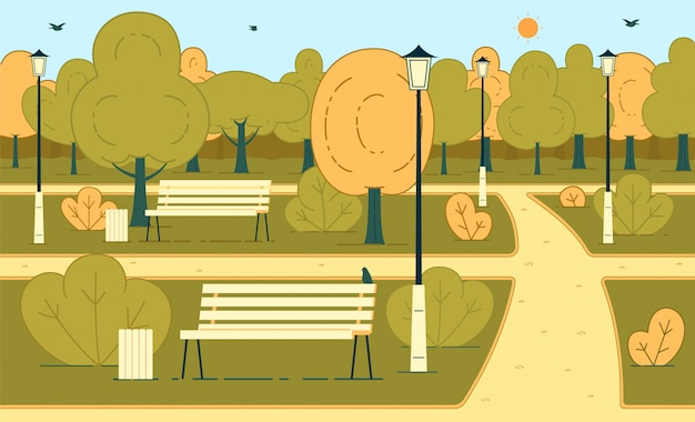 Sunny autumn day in park flat vector background illustration