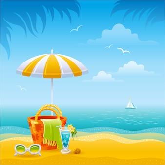 Солнечный берег пейзаж. зонт, пляжная сумка, солнцезащитные очки, коктейль. летний рай фон с пальмами, песок, море.