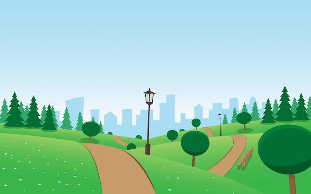Sunny city urban park scene