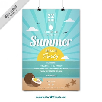 Sunny day on the beach party poster