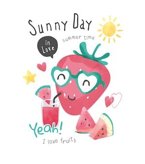 かわいい漫画のイチゴとスイカのイラストと晴れた日のスローガン