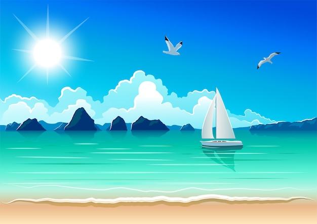 해변과 화창한 날