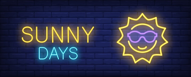 Sunny days yellow blue neon style lettering. sun in sunglasses on brick background.