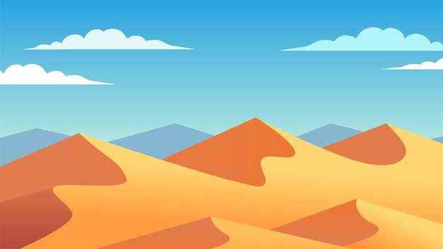 모래 언덕과 언덕 일러스트와 함께 맑은 사막 풍경