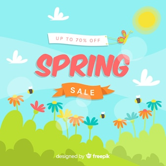 Sunny field spring sale background