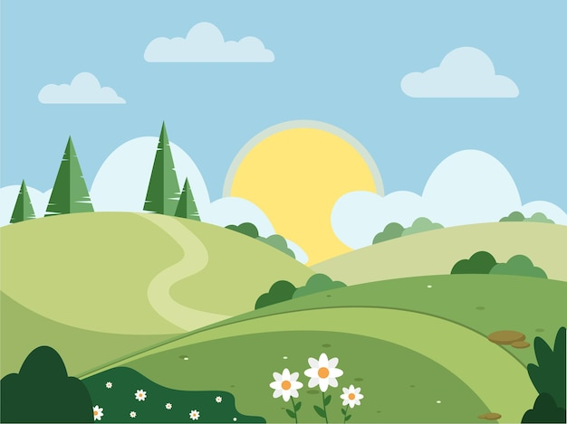Солнечный пейзаж иллюстрация лето весна