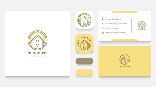 Sunny modern house logo template and business card