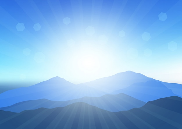 Sunny mountain landscape illustration