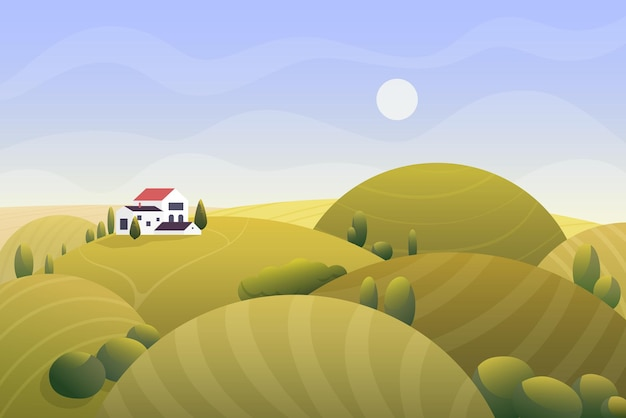 Sunny rural golden autumn landscape with country house illustration