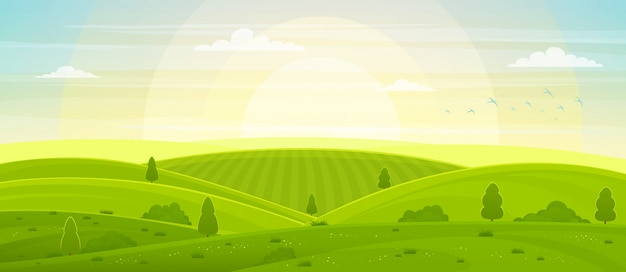 夜明けの丘とフィールドのある日当たりの良い田園風景。夏の緑の丘、牧草地、フィールド、白い雲と青い空。
