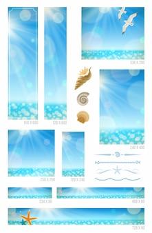 日当たりの良い海の背景、海の動物、装飾的な仕切り-標準のwebバナーの設定