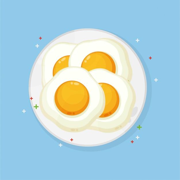 プレート上の卵をサニーサイドアップ