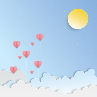 Sunny sky and pink balloon heart paper art vector