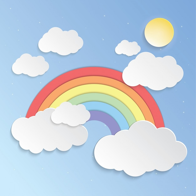 Sunny sky and rainbows Premium Vector