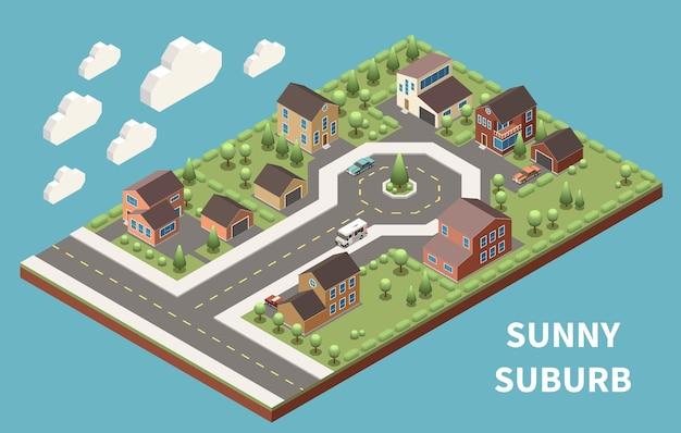 Солнечный пригород изометрический фон иллюстрирован зеленым пригородным районом с хорошими дорогами и современными зданиями
