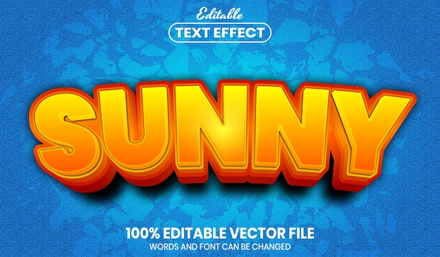 Sunny text, font style editable text effect