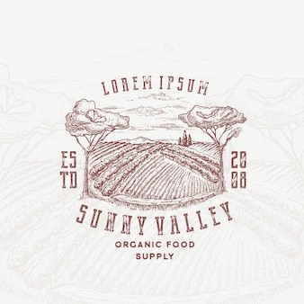 Sunny valley retro badge or logo template.
