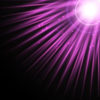 Дизайн фона солнечных лучей с сверкающими огнями