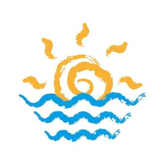 ビーチでの日の出と日没、ベクトルとイラストのアイコン