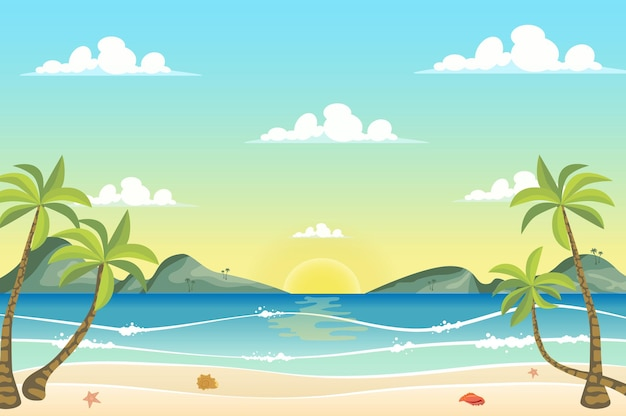 Восход солнца на берегу моря в плоском мультяшном стиле