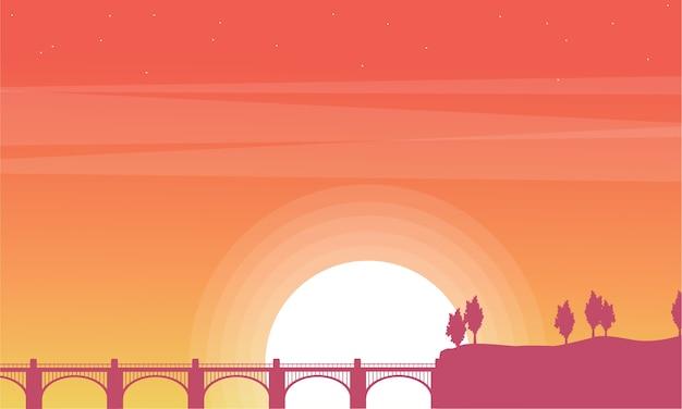 At sunrise bridge beauty scenery