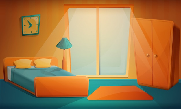 Sunrise in the cartoon bedroom, vector illustration