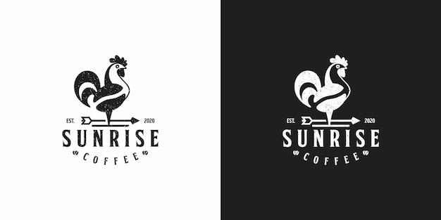 チケンのロゴデザインの日の出コーヒー