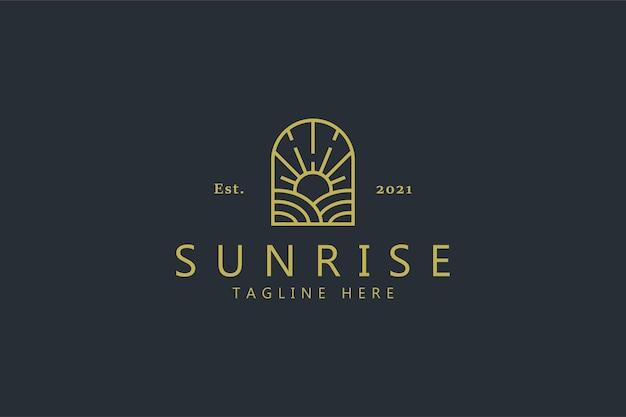 窓の形のロゴの日の出農場。ヴィンテージバッジクリエイティブデザインのブランドアイデンティティ。