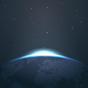 별과 빛과 공간에서 지구 위에 일출 지평선. 우주에서 그림 일출과 천문학 글로우 일출