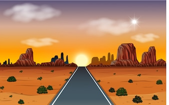 Sunrise in desert with road scene