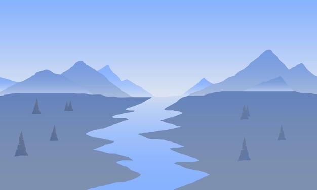 Восход солнца в горах. цветной пейзаж гор. поход - утренний вид. векторный фон.