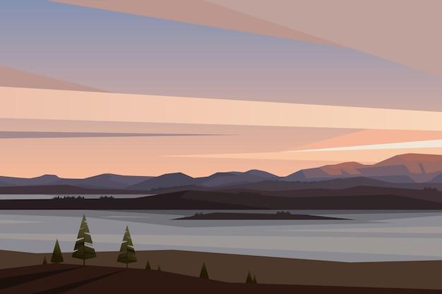 평면 스타일 북부 자연 아침 호수 전망 야외에서 산 벡터 풍경에서 일출