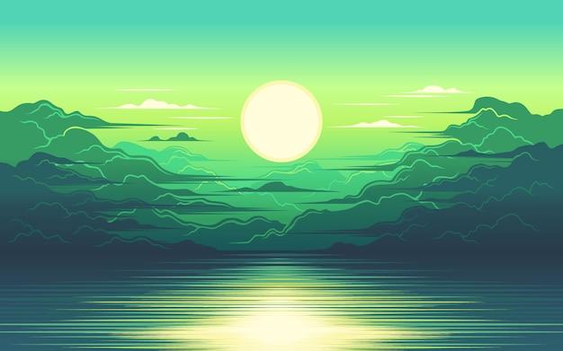 海のイラストの日の出