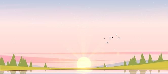 강 해안에 새벽 침엽수 림과 수평선에 태양 자연 풍경의 해안 만화 그림에 언덕과 나무에 하늘 실루엣에서 호수 새와 일출 풍경