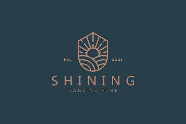 Sunrise logo on the shield for farm business company product. shining bright concept vector template brand identity.