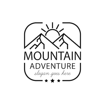 Sunrise mountain landscape with focus round square lens frame for adventure outdoor nature photographer logo design