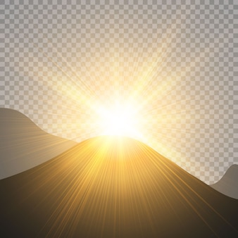 Sunrise over the mountains, dawn.   transparent sunlight. special lens flare light effect.