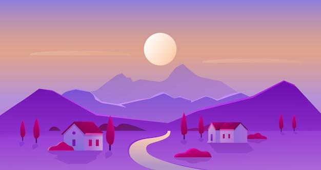 日の出または日没の村の風景ベクトルイラスト、地平線上の太陽と山のシルエットの漫画フラット田園地帯のパノラマ風景、庭園のある家